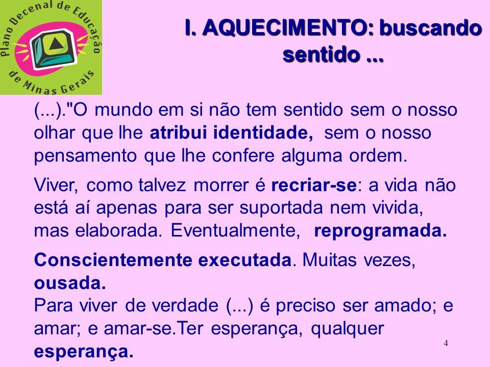 I. AQUECIMENTO: buscando sentido ...
