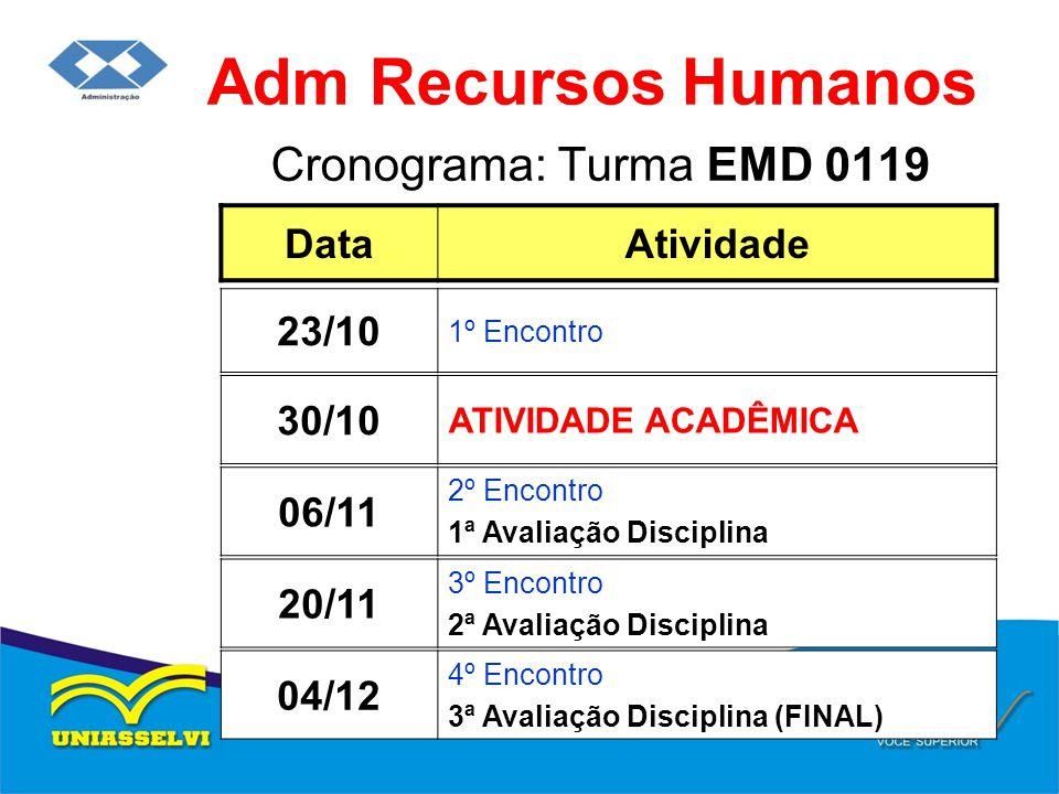 Adm Recursos Humanos Cronograma: Turma EMD 0119 Data Atividade 23/10