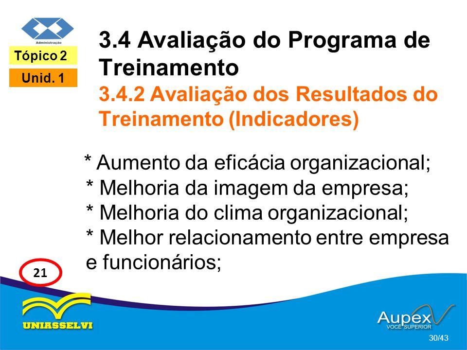 3. 4 Avaliação do Programa de Treinamento 3. 4