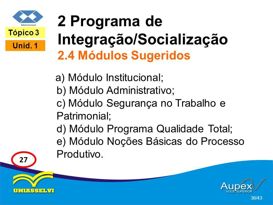2 Programa de Integração/Socialização 2.4 Módulos Sugeridos