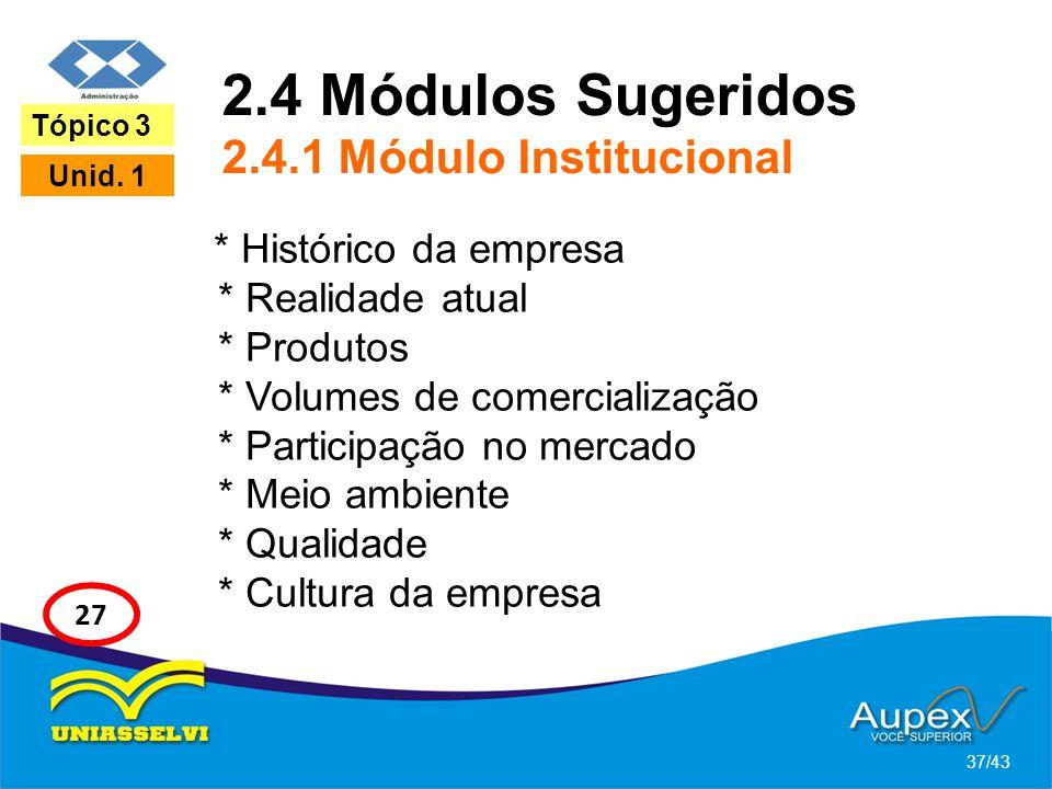 2.4 Módulos Sugeridos 2.4.1 Módulo Institucional
