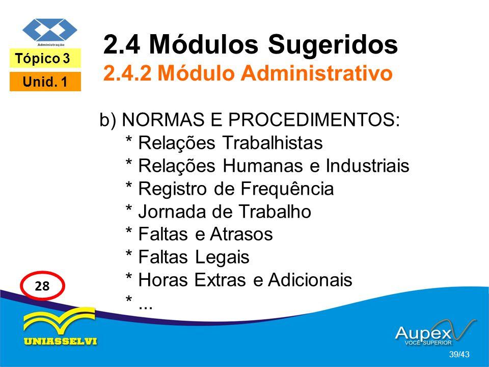 2.4 Módulos Sugeridos 2.4.2 Módulo Administrativo