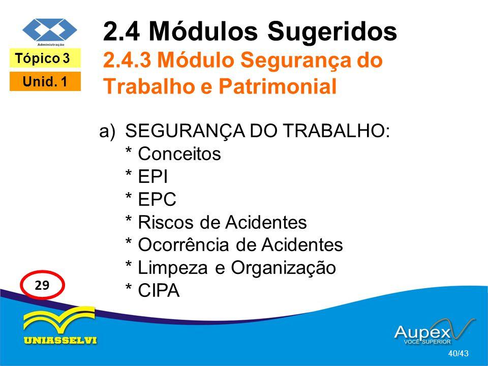 2.4 Módulos Sugeridos 2.4.3 Módulo Segurança do Trabalho e Patrimonial