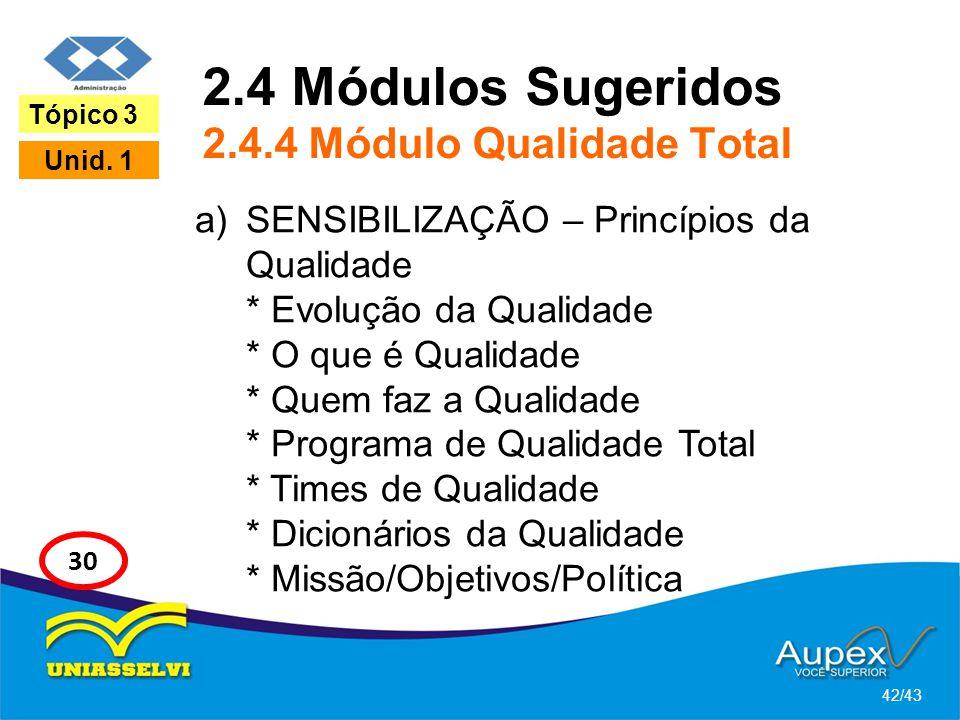 2.4 Módulos Sugeridos 2.4.4 Módulo Qualidade Total