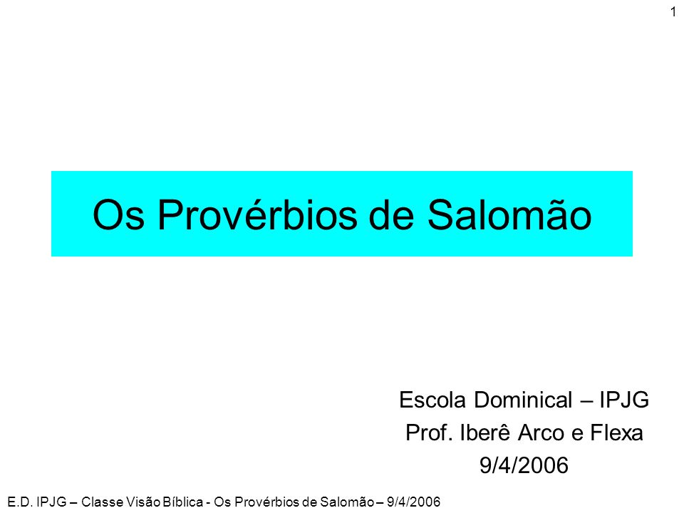 Os Provérbios de Salomão