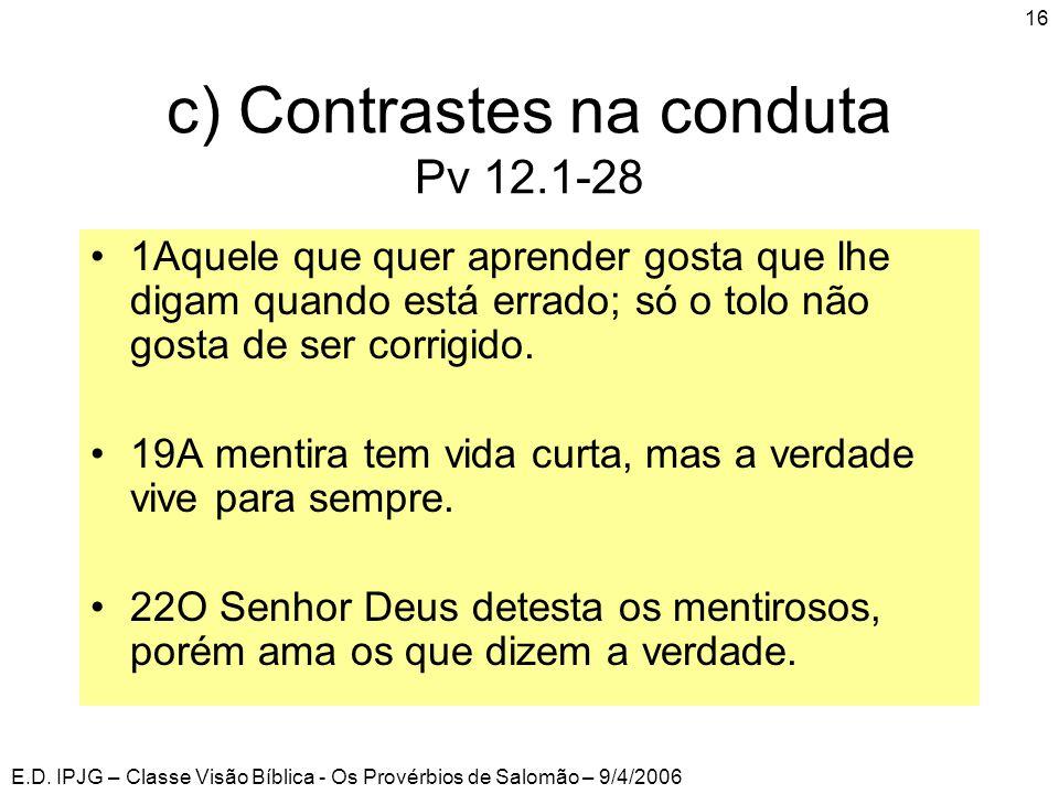 c) Contrastes na conduta Pv 12.1-28