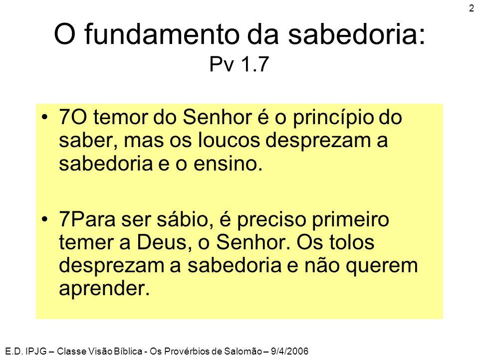 O fundamento da sabedoria: Pv 1.7