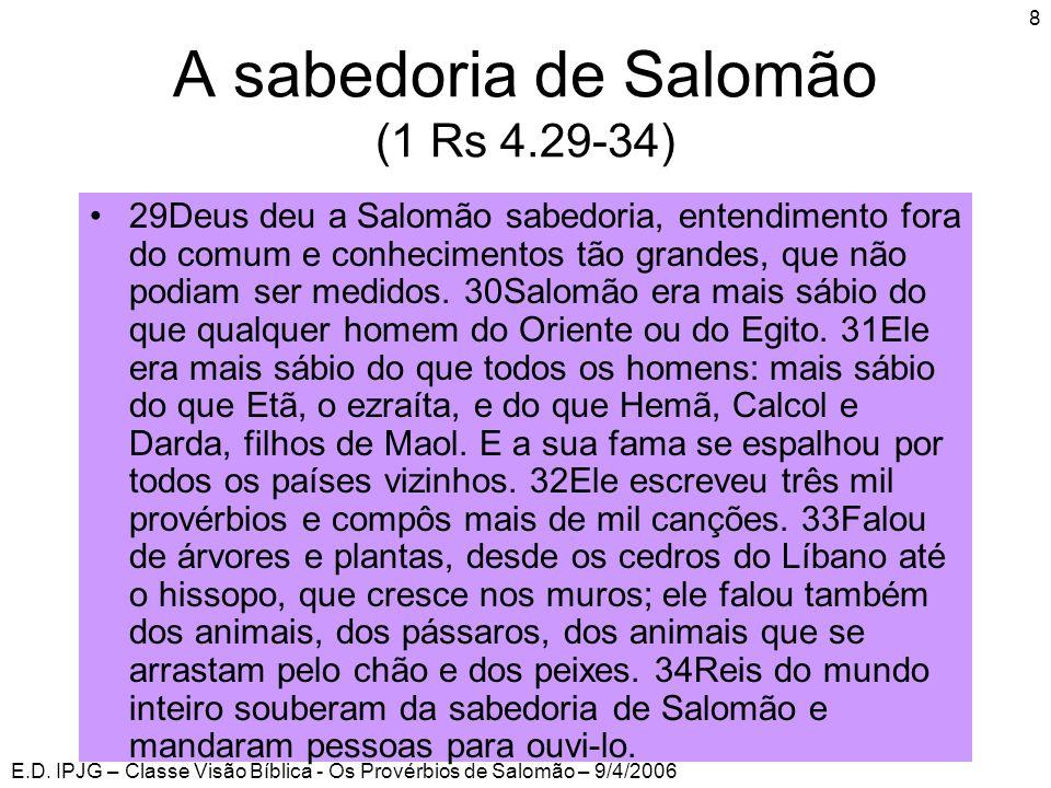 A sabedoria de Salomão (1 Rs 4.29-34)