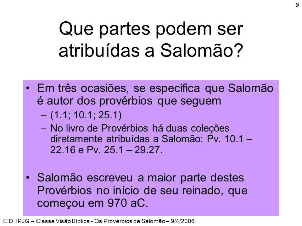 Que partes podem ser atribuídas a Salomão