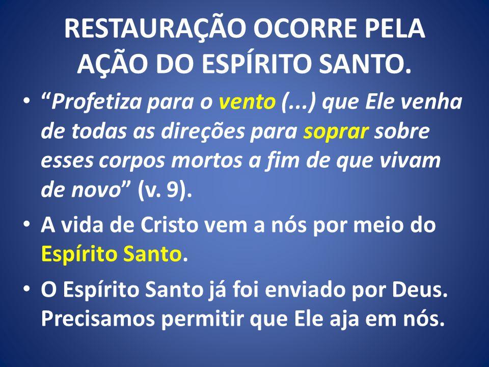 RESTAURAÇÃO OCORRE PELA AÇÃO DO ESPÍRITO SANTO.