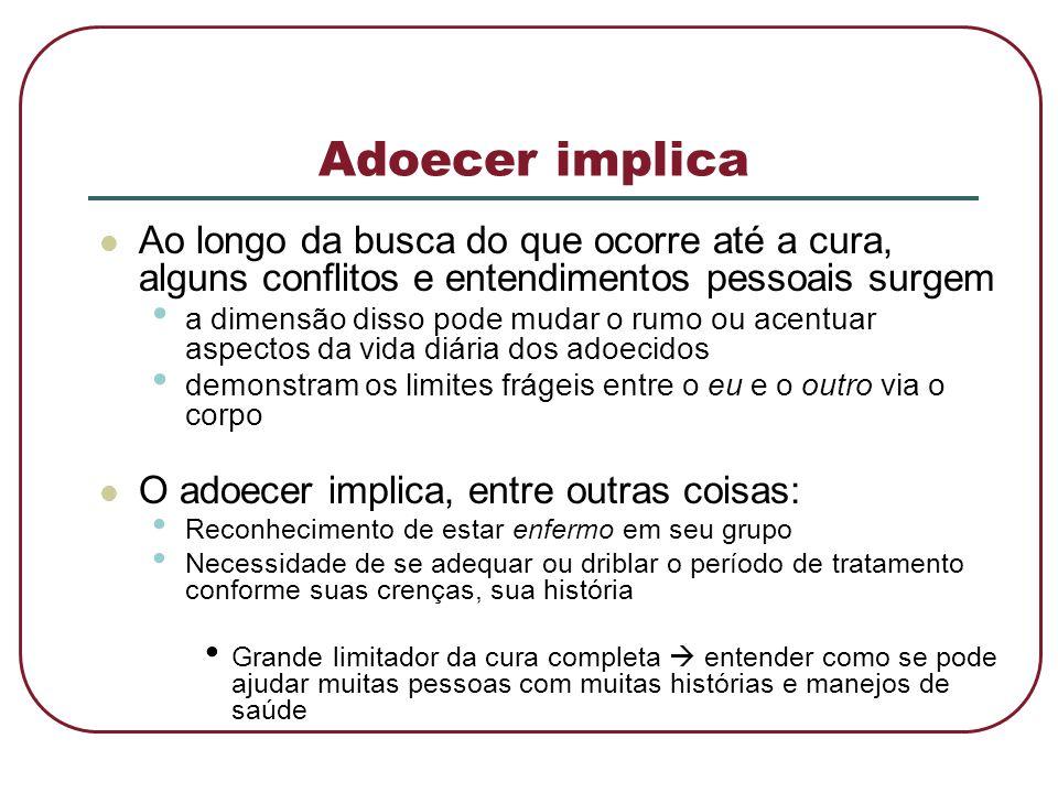 Adoecer implica Ao longo da busca do que ocorre até a cura, alguns conflitos e entendimentos pessoais surgem.