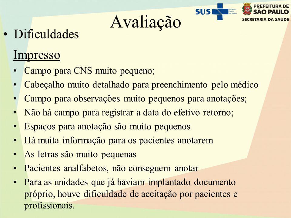 Avaliação Dificuldades Impresso Campo para CNS muito pequeno;