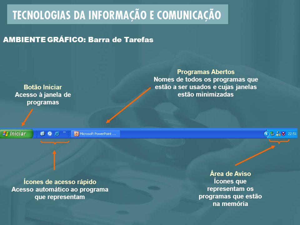 AMBIENTE GRÁFICO: Barra de Tarefas Programas Abertos