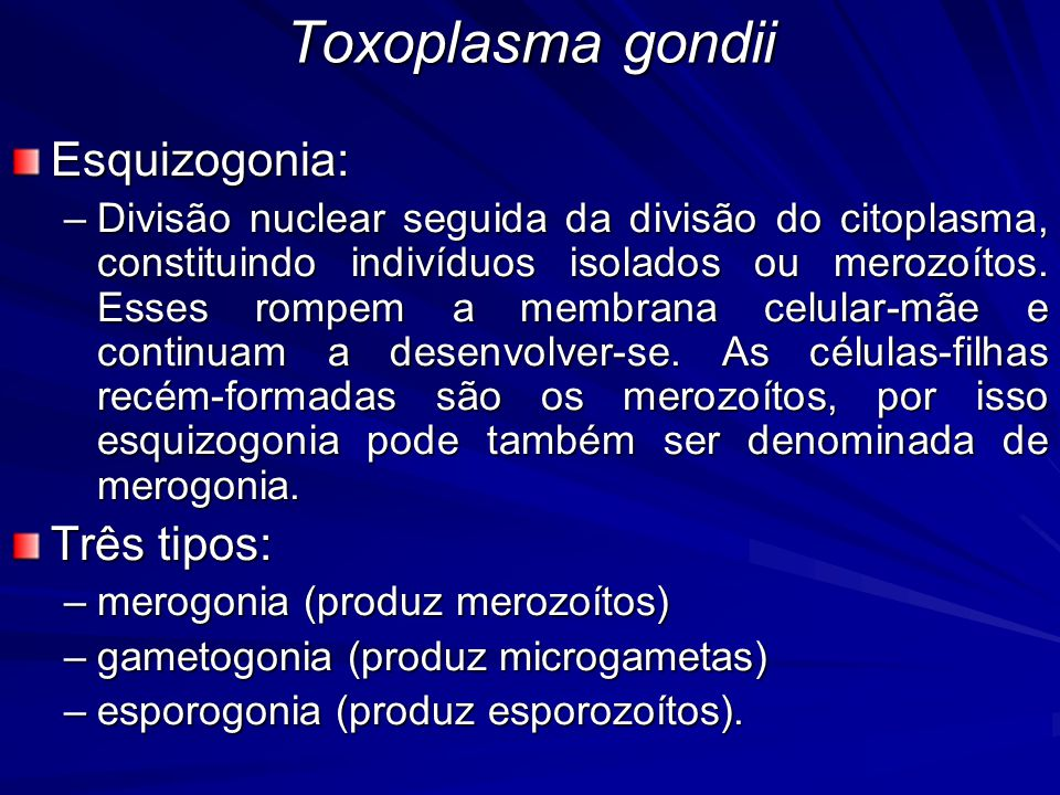 Toxoplasma gondii Esquizogonia: Três tipos: