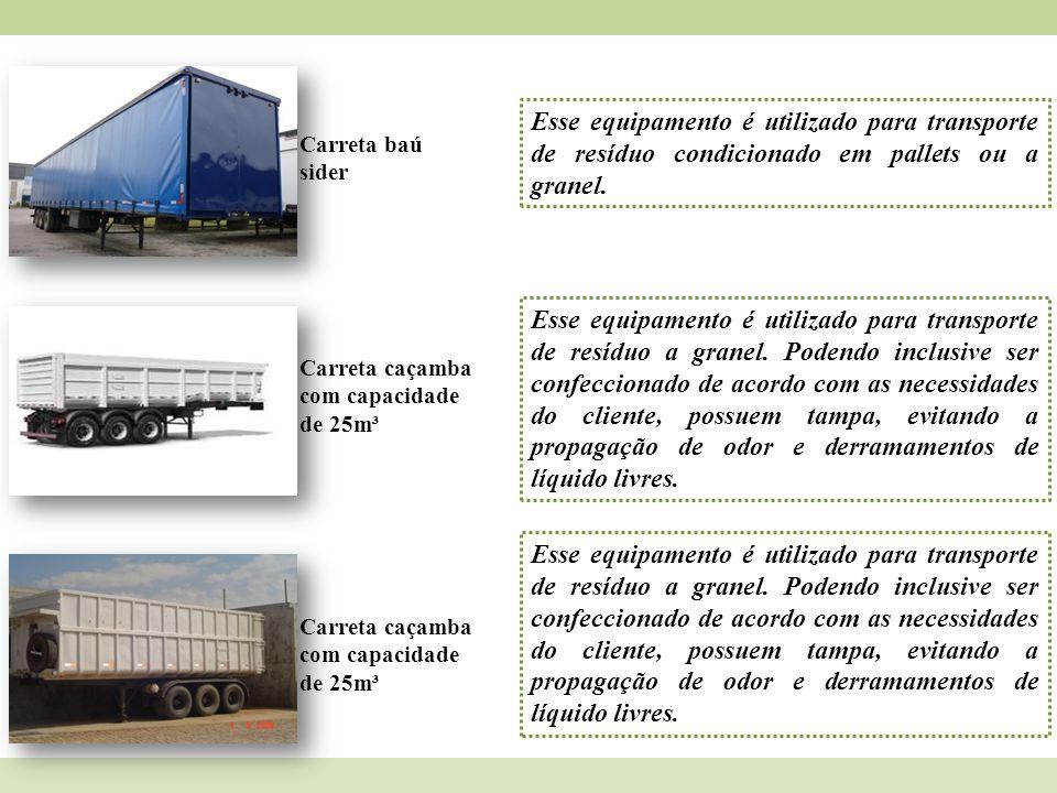 Esse equipamento é utilizado para transporte de resíduo condicionado em pallets ou a granel.