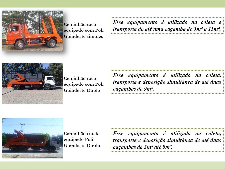 Esse equipamento é utilizado na coleta e transporte de até uma caçamba de 3m³ a 11m³.