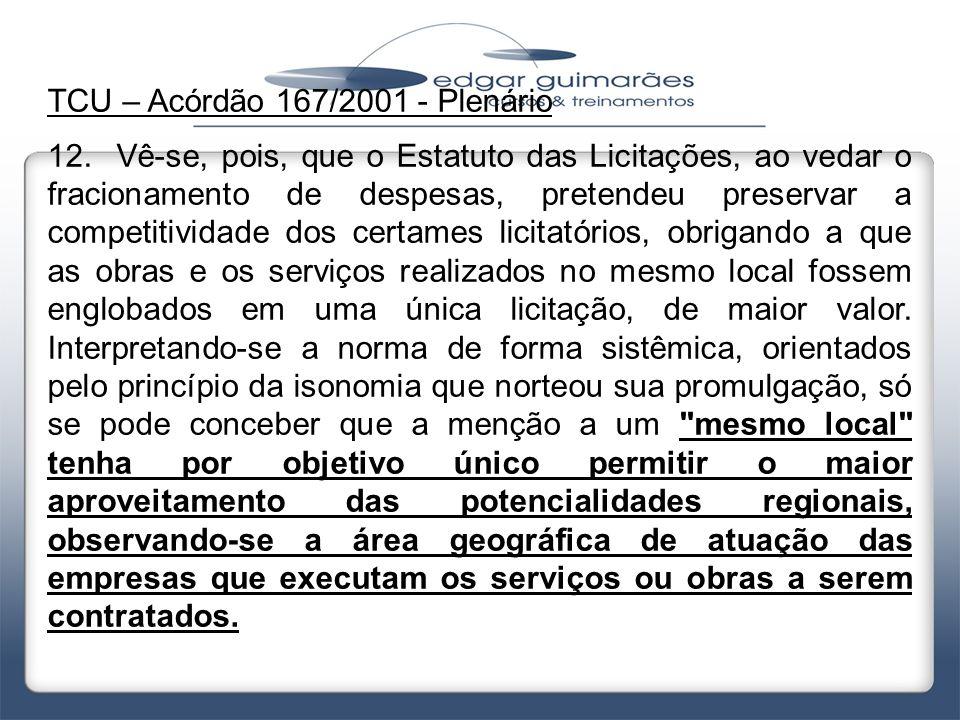 TCU – Acórdão 167/2001 - Plenário