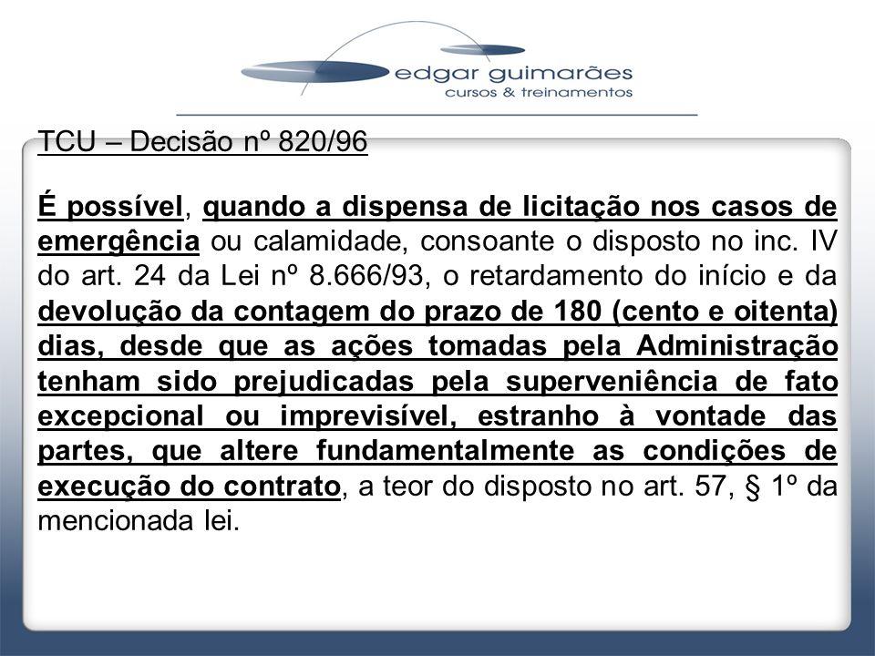 TCU – Decisão nº 820/96