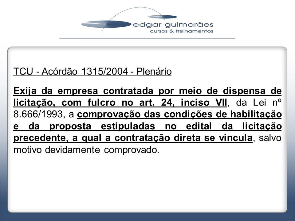 TCU - Acórdão 1315/2004 - Plenário
