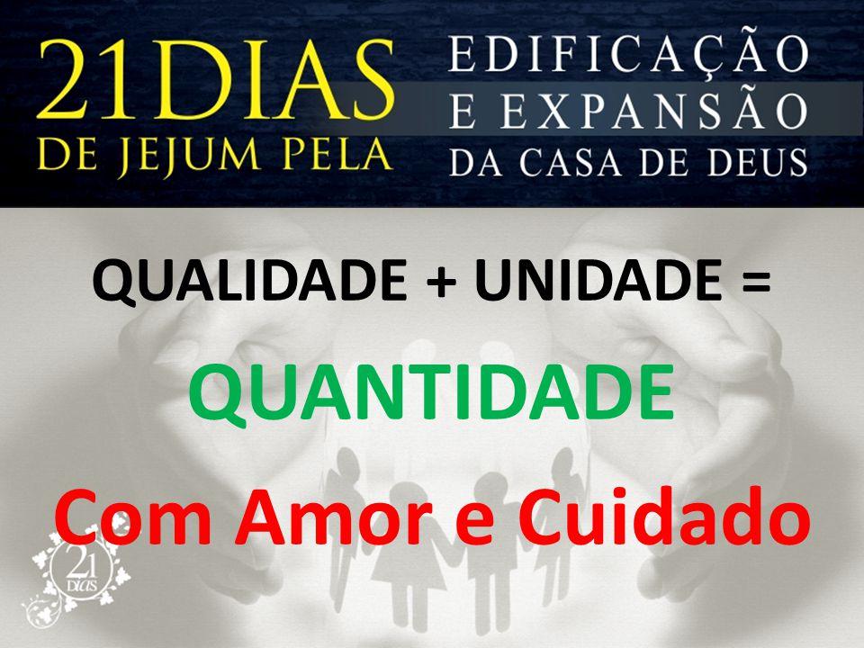 QUANTIDADE Com Amor e Cuidado QUALIDADE + UNIDADE =