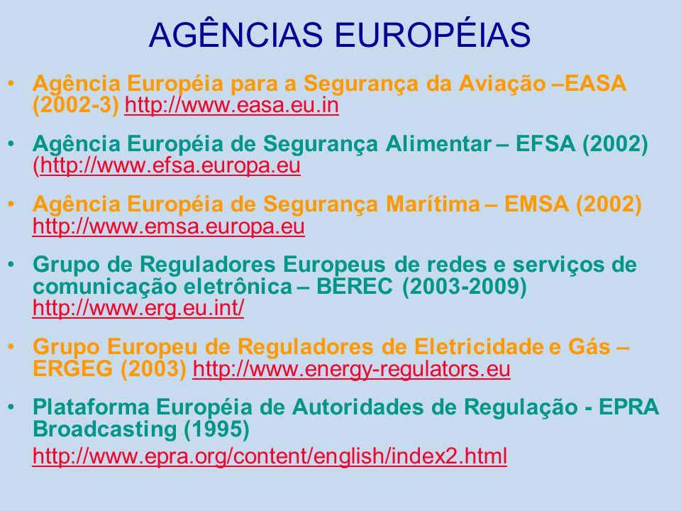 AGÊNCIAS EUROPÉIAS Agência Européia para a Segurança da Aviação –EASA (2002-3) http://www.easa.eu.in.