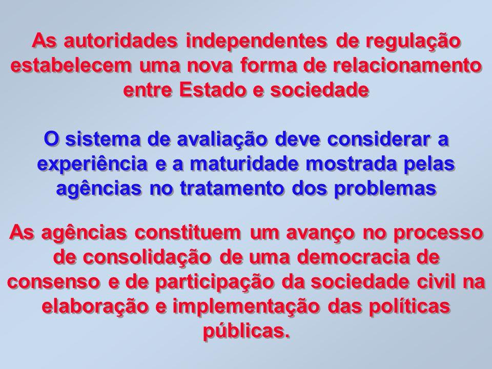 As autoridades independentes de regulação estabelecem uma nova forma de relacionamento entre Estado e sociedade