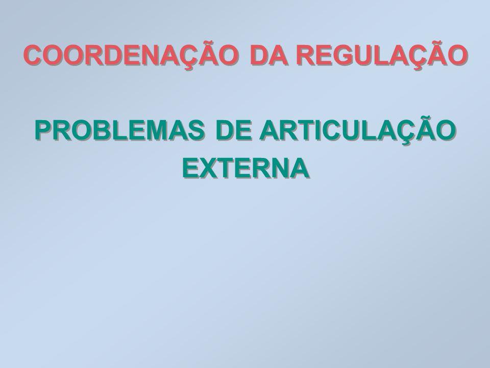 COORDENAÇÃO DA REGULAÇÃO PROBLEMAS DE ARTICULAÇÃO EXTERNA
