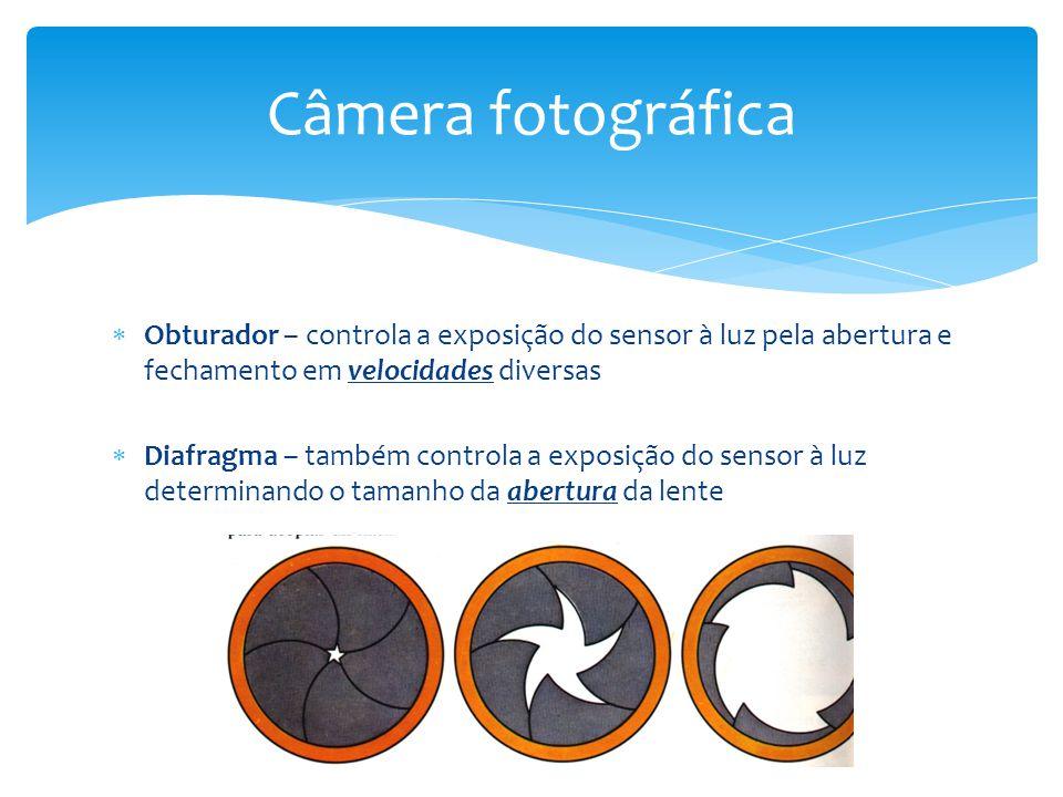 Câmera fotográfica Obturador – controla a exposição do sensor à luz pela abertura e fechamento em velocidades diversas.