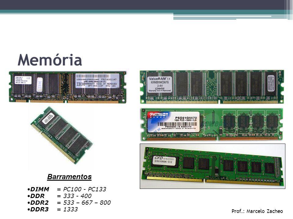 Memória Barramentos DIMM = PC100 - PC133 DDR = 333 - 400