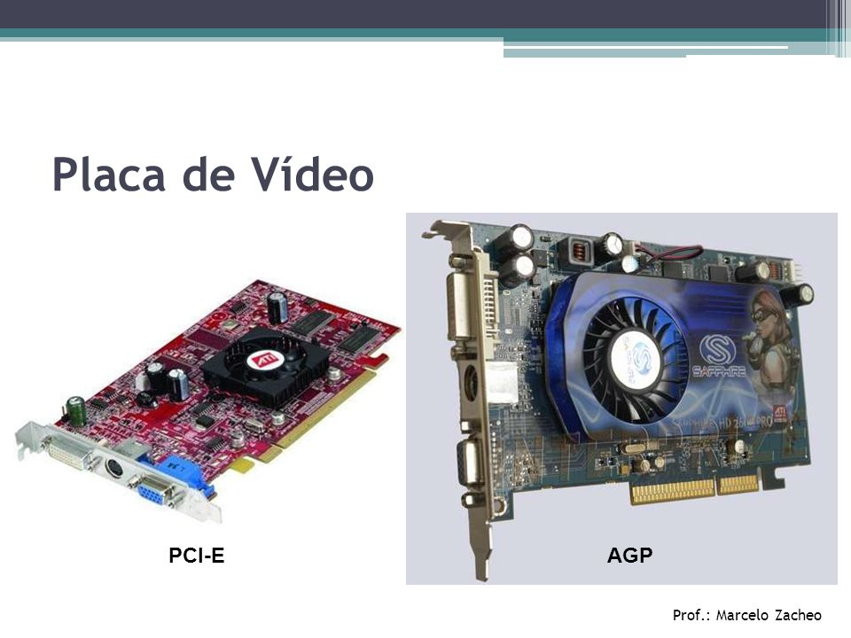 Placa de Vídeo PCI-E AGP Prof.: Marcelo Zacheo