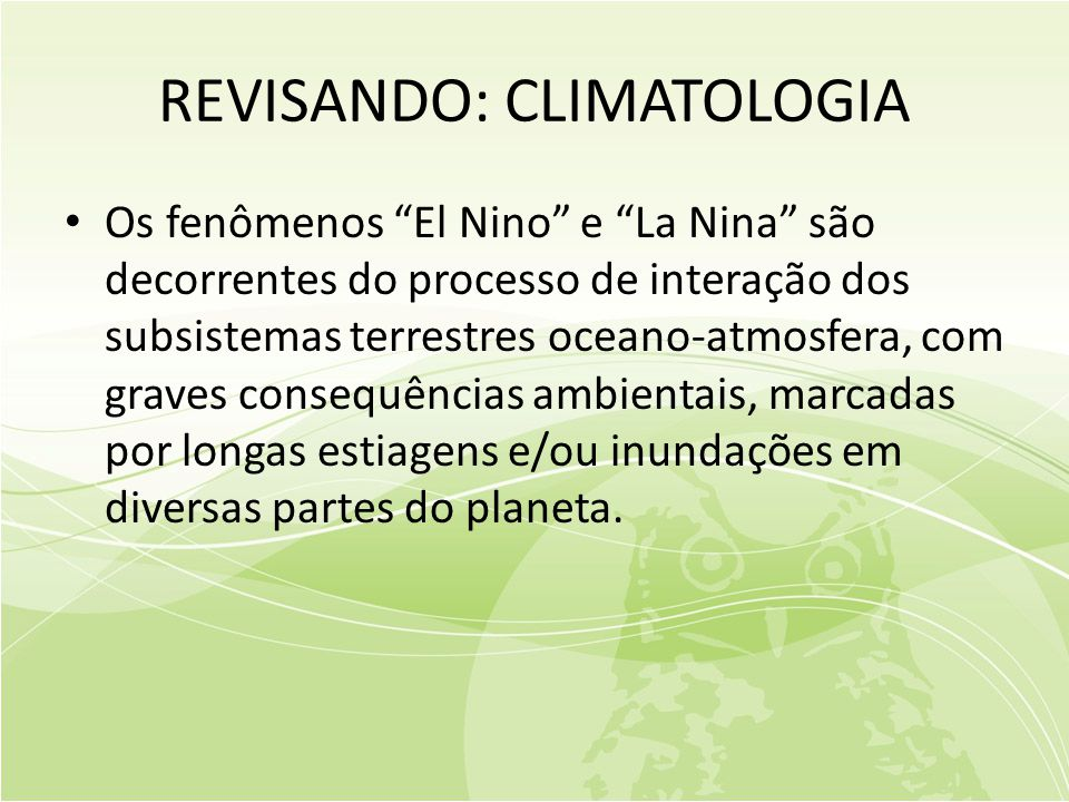 REVISANDO: CLIMATOLOGIA