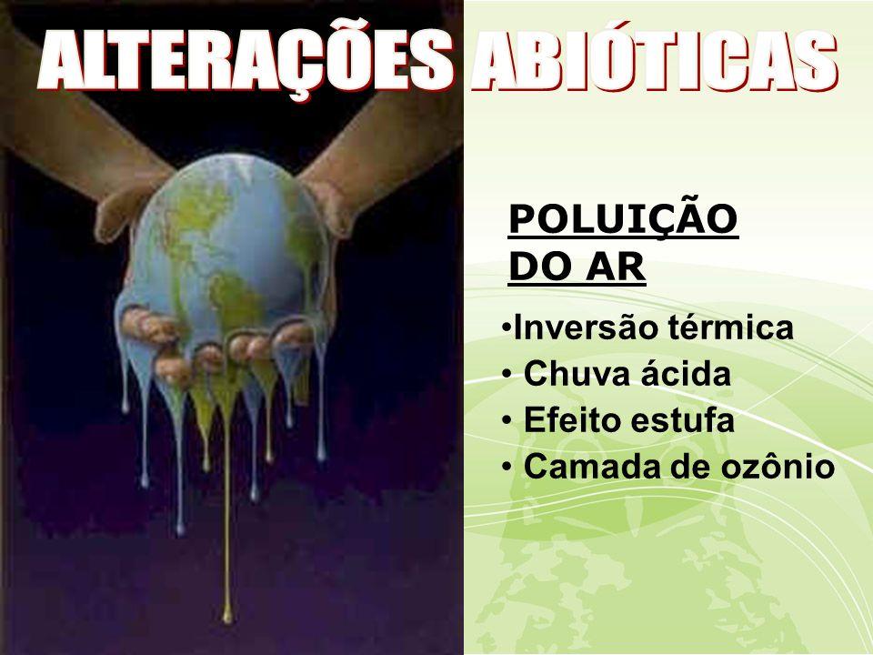 ALTERAÇÕES ABIÓTICAS POLUIÇÃO DO AR Inversão térmica Chuva ácida