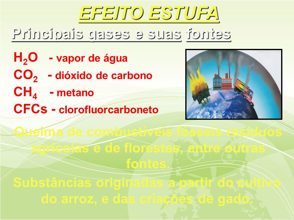 EFEITO ESTUFA Principais gases e suas fontes