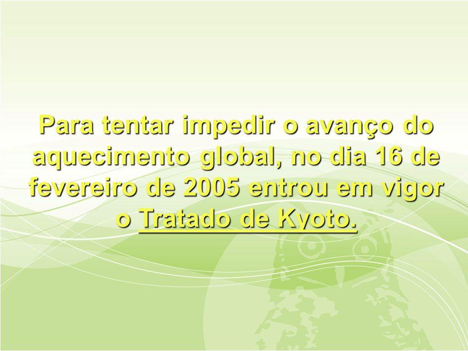 Para tentar impedir o avanço do aquecimento global, no dia 16 de fevereiro de 2005 entrou em vigor o Tratado de Kyoto.