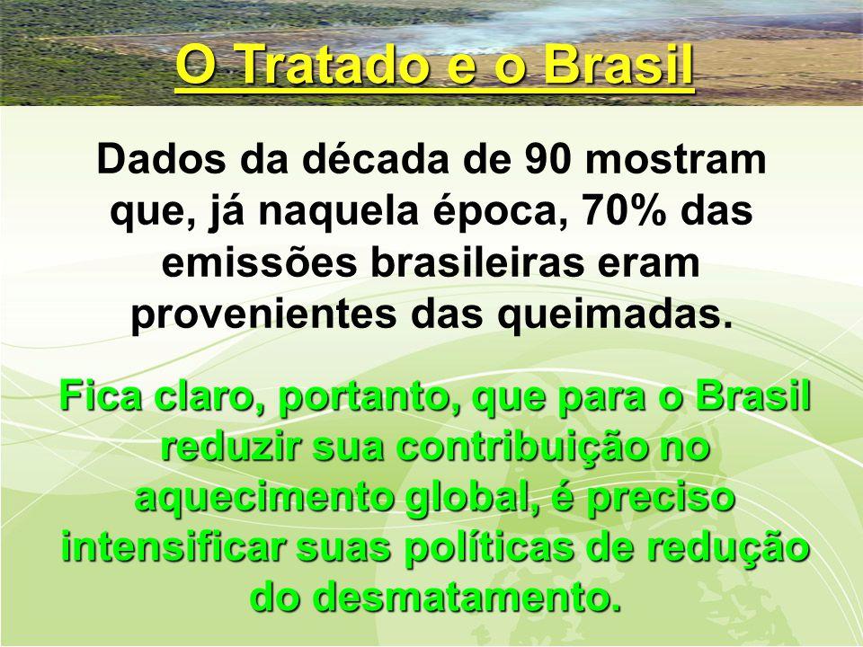 O Tratado e o Brasil Dados da década de 90 mostram que, já naquela época, 70% das emissões brasileiras eram provenientes das queimadas.