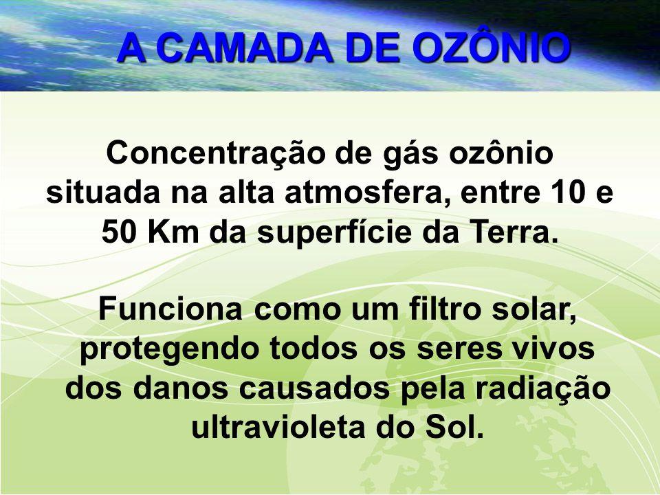 A CAMADA DE OZÔNIO Concentração de gás ozônio situada na alta atmosfera, entre 10 e 50 Km da superfície da Terra.