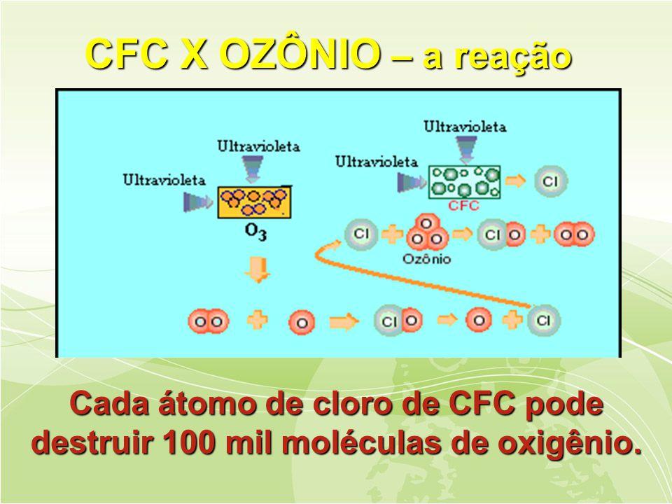 CFC X OZÔNIO – a reação
