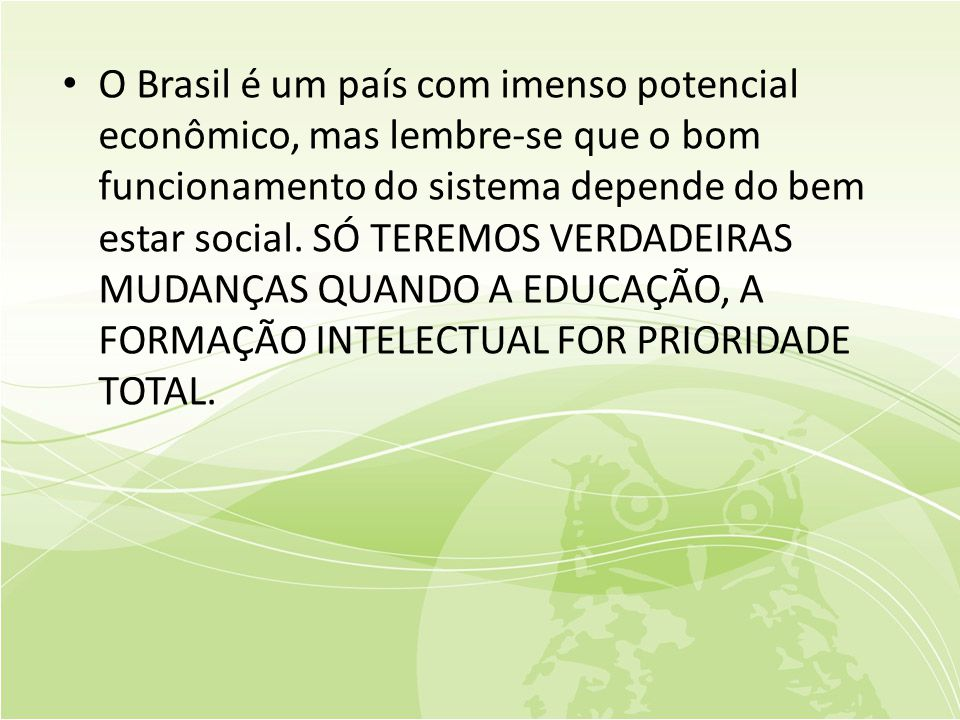 O Brasil é um país com imenso potencial econômico, mas lembre-se que o bom funcionamento do sistema depende do bem estar social.