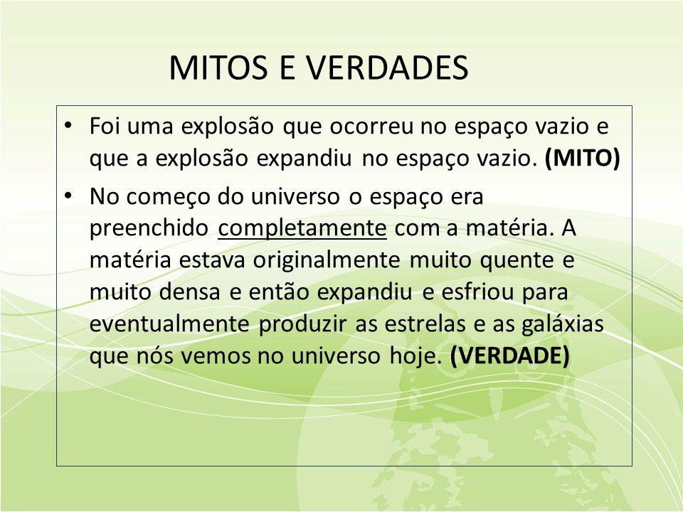 MITOS E VERDADES Foi uma explosão que ocorreu no espaço vazio e que a explosão expandiu no espaço vazio. (MITO)