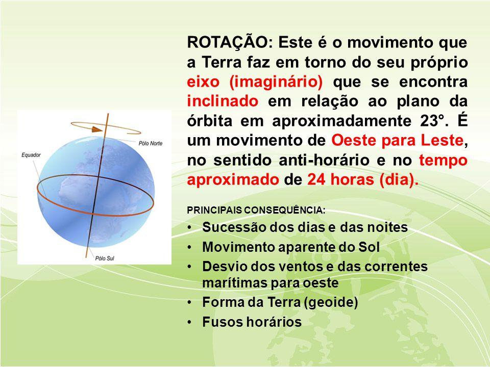ROTAÇÃO: Este é o movimento que a Terra faz em torno do seu próprio eixo (imaginário) que se encontra inclinado em relação ao plano da órbita em aproximadamente 23°. É um movimento de Oeste para Leste, no sentido anti-horário e no tempo aproximado de 24 horas (dia).