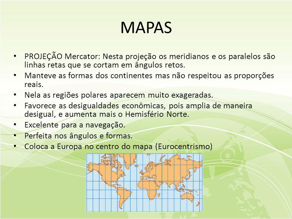 MAPAS PROJEÇÃO Mercator: Nesta projeção os meridianos e os paralelos são linhas retas que se cortam em ângulos retos.