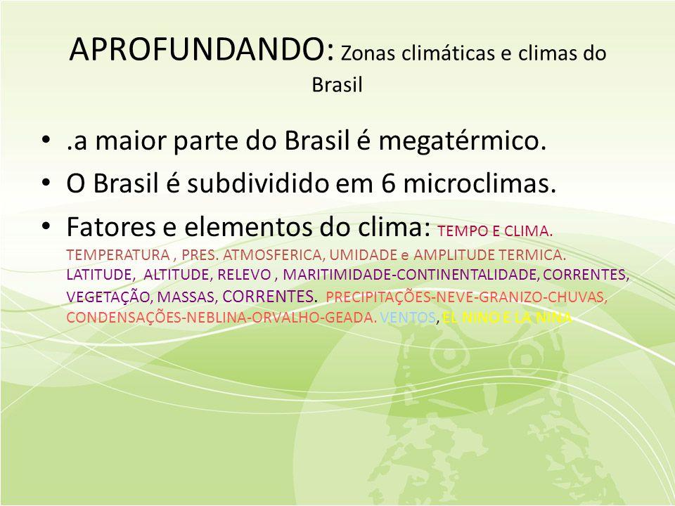 APROFUNDANDO: Zonas climáticas e climas do Brasil