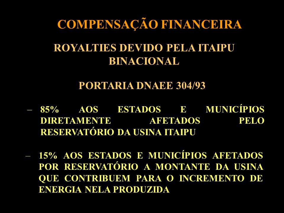 COMPENSAÇÃO FINANCEIRA ROYALTIES DEVIDO PELA ITAIPU BINACIONAL