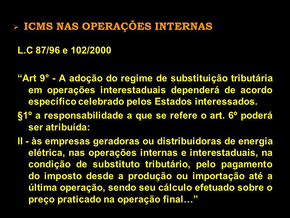 ICMS NAS OPERAÇÕES INTERNAS