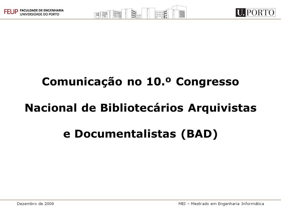 Comunicação no 10.º Congresso Nacional de Bibliotecários Arquivistas e Documentalistas (BAD)