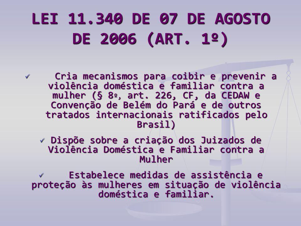LEI 11.340 DE 07 DE AGOSTO DE 2006 (ART. 1º)