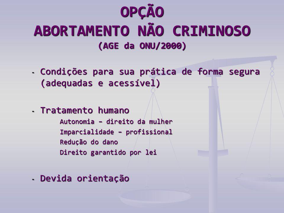 OPÇÃO ABORTAMENTO NÃO CRIMINOSO (AGE da ONU/2000)