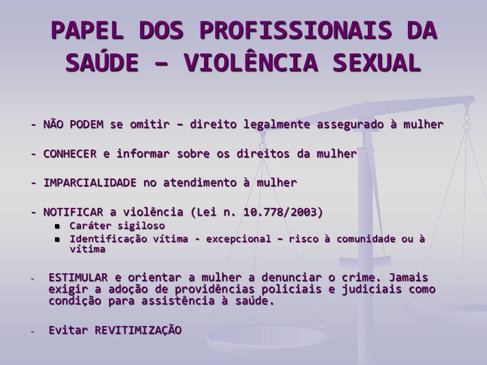PAPEL DOS PROFISSIONAIS DA SAÚDE – VIOLÊNCIA SEXUAL