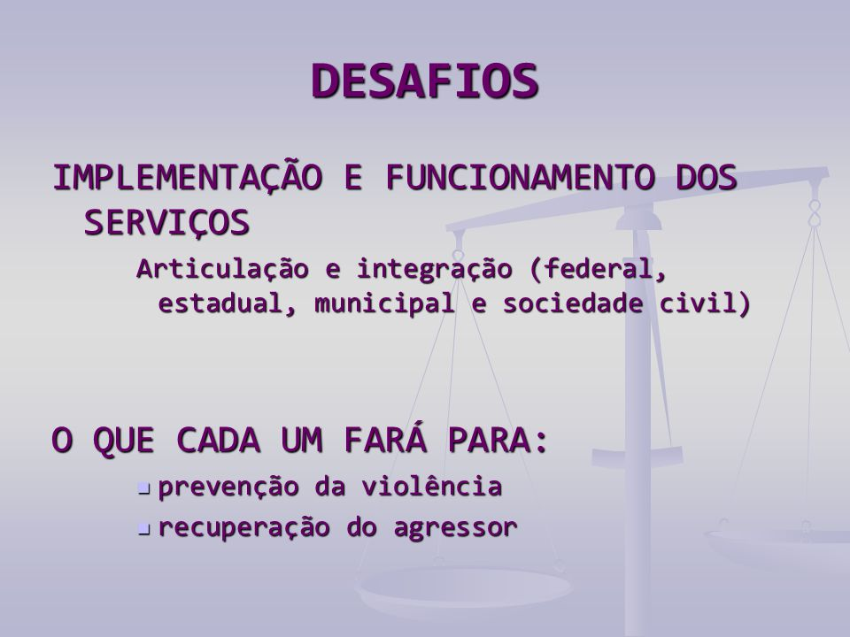 DESAFIOS IMPLEMENTAÇÃO E FUNCIONAMENTO DOS SERVIÇOS