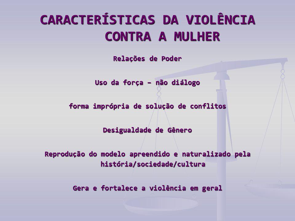 CARACTERÍSTICAS DA VIOLÊNCIA CONTRA A MULHER